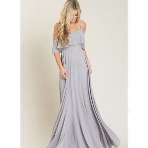 Dresses & Skirts - Grey off the shoulder maxi dress NWT
